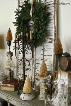 Faded Charm: ~Holiday Home Tour 2013~ bottle brush trees
