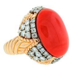 Shop diamond and sapphire cocktail rings and other antique and vintage rings from the world's best jewelry dealers. Van Cleef And Arpels Jewelry, Van Cleef Arpels, Jewelry Rings, Jewelry Accessories, Jewlery, Yellow Gold Rings, Coral Ring, Unusual Rings, Big Rings