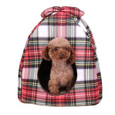Speedy Pet Dog Cat Tent Beds Plaid Pattern Soft Warm Removable Mat Cushion Puppy Cats Bed Cave for Small Medium Pets Cheap Puppies, Pet Gifts, Dog Lover Gifts, Pet Lovers, Pet Dogs, Dog Cat, Pets, Cat Window Bed