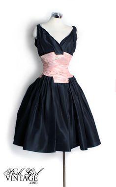 NEEDFUL THINGS! 1950's Black & Pink Silk Tafetta Dress (how do I make a dress look like this?!)
