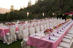 Bold wedding colorful centerpieces on long tables @calistogaranch @fleursdefrance @brianamarie