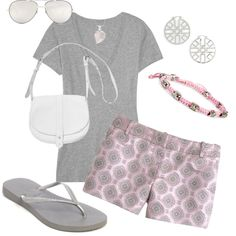Pink and Grey by heather767 on Polyvore featuring polyvore, fashion, style, J.Crew, Havaianas, Monki, Tory Burch, Simply Silver and Linda Farrow Luxe