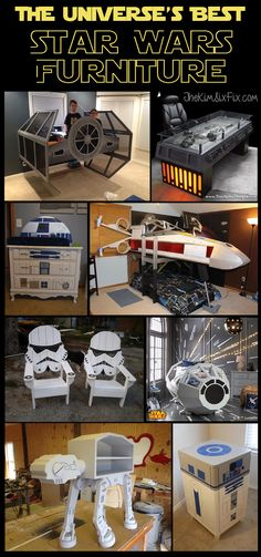 12 Awesome Star Wars Inspired Furniture Pieces - Star Wars Paint - Ideas of Star Wars Paint - A collection of Star Wars Furniture and home decor. From Tie Fighters and X-wings to Boba Fett Storm Troopers and this collection has it all! Star Wars Party, Theme Star Wars, Star Wars Decor, Star Wars Christmas Decorations, Diy Christmas, Star Wars Furniture, Furniture Decor, Bedroom Furniture, Geek Furniture