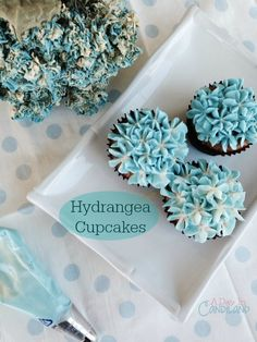 How to make hydrangea cupcakes like look like real flowers. Video Tutorial included