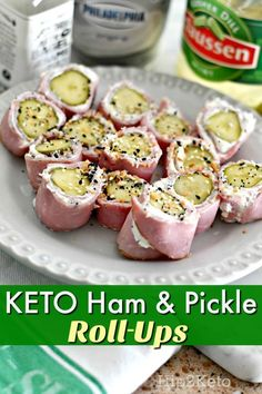 These keto ham & pickle roll-ups are perfect for keeping it low carb while you're snacking! They're great for parties too! These keto ham & pickle roll-ups are perfect for keeping it low carb while you're snacking! They're great for parties too! Keto Foods, Ketogenic Recipes, Keto Snacks, Low Carb Recipes, Diet Recipes, Healthy Snacks, Easy Snacks, Ketogenic Diet, Soup Recipes