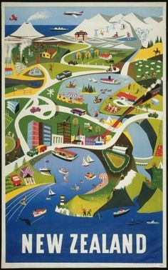 New Zealand Tourism Poster shows a stylised illustration of everyday life on a busy segment of the lower North Island of New Zealand, viewed from above. The view includes Wellington Harbour, Mount Ngauruhoe and the Central Plateau, Lake Taupo and Rotorua. Retro Poster, Poster S, Vintage Travel Posters, Poster Prints, Art Print, New Zealand Art, New Zealand Travel, Photo Vintage, Vintage Ads