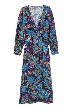Jacquard-weave wrap dress - Dark blue/Floral - Ladies | H&M 1