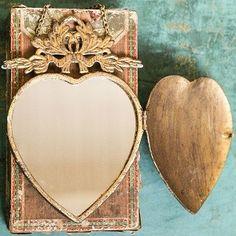 Golden Metal Heart Mirror