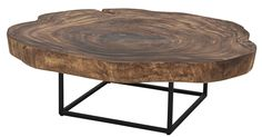 Trembesi Coffee Table Black Iron Legs in Natural - NPD