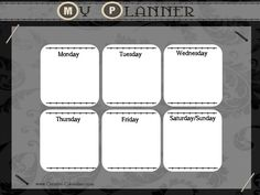Black and white weekly planner