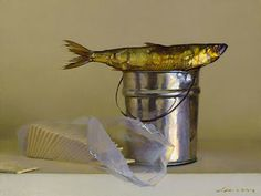 fish over bucket, still life painting. | RP » Jeffrey T. Larson
