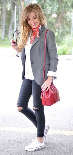 how to style a pair of converse : blazer + red bag + ripped jeans + white tee