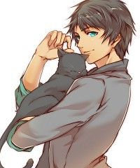 Anime guy + cat = Perfection. Just sayin' ;] I agree :3 cats, hair colors, anim guy, anime guys, aijima cecil, blues, manga cat, princ sama, eye