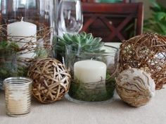 Rustic centerpiece ideas. DIY.