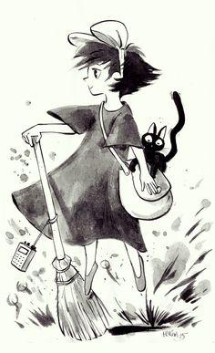 Hatem Aly on Behance Kiki and Jiji Form Hayao Miyazaki 's Kiki's Delivery Service (Studio Ghibli)