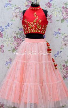 Red halter neck collared blouse with peach layered tulle skirt. To orde 24 December 2018 Lehenga Top, Kids Lehenga, Kids Dress Wear, Kids Gown, Cute Dresses, Girls Dresses, Kids Blouse Designs, Baby Dress Design, Girls Crop Tops