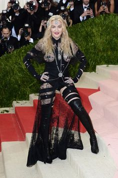 May 2 2016 Madonna in a Givenchy Haute Couture by Riccardo Tisci outfit.