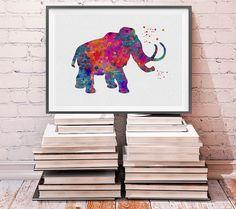 Mammoth Watercolor Print Wall Art Prehistoric by MimiPrints