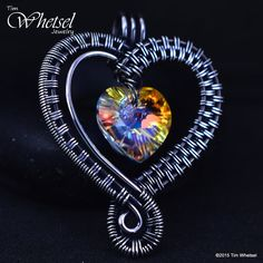 Sterling Silver Handmade Wire Wrapped Heart Pendant  - Valentines Day - Swarovski Crystal Beads