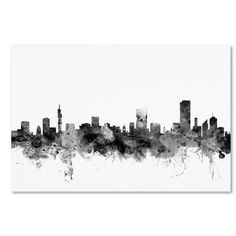 "Trademark Fine Art Michael Tompsett ""Detroit Michigan Skyline B and W"" Canvas Art at Lowe's. This ready to hang, gallery-wrapped art piece features a watercolor skyline of Detroit, Michigan. Artist Canvas, Canvas Art, Canvas Size, Big Canvas, Paint Splash, Detroit Michigan, Detroit Skyline, Pittsburgh Pa, Pittsburgh Skyline"