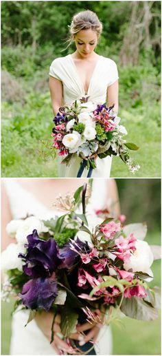 Fiddlehead ferns, green trick carnation, whimsical bouquet, wrap-front wedding dress // Fritzmean Photography
