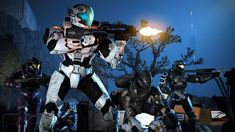 I simply did this Halo/Mass Effect crossover picture for fun. Here, we see a squad of Spartans assaulting a Cerberus facility on a charted world at nigh. Halo Armor, Halo Spartan, Halo Game, Pokemon, Cerberus, Rooster Teeth, Backrounds, Star Wars Art, Harley Quinn