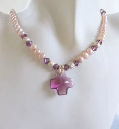 Purple Swaroski Cross with Mauve Pearls and by ShadowoftheCross