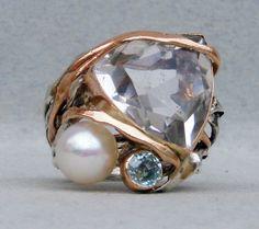 #silver, #12kt gold, #rock crystal, #blue topaz, #pearl, #cristallo di rocca, #rock crystal,