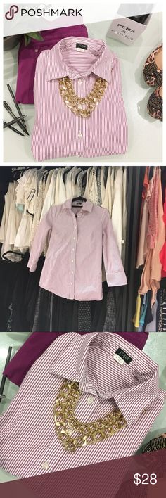 JCrew Button up The purple and white in this top pair wonderfully with black, denim, white, or for an ultra-coordinated look, with the purple jeggings in this closet. Gold necklace also available in another listing. J. Crew Tops Button Down Shirts