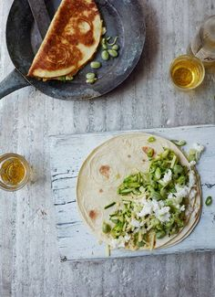 cheesy courgette and pea quesadilla (plus Mackerel sandwich with sticky lemon, tahini yoghurt and pickled onion and radish; Spiced pork-belly bun with kimchi slaw)