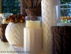 LOVE -- using old sweaters!!! 42 Beautiful Fall Table Décor Ideas | Shelterness