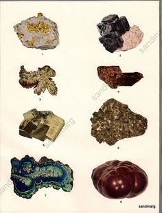 Vintage Chart of Ore Mineral Deposits Rocks