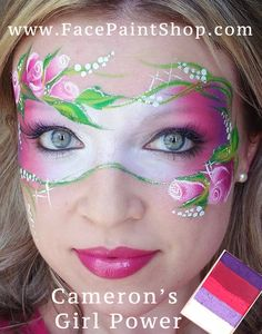 Rose mask using Cameron's Girl Power from Face Painting Images, Face Painting Flowers, Adult Face Painting, Face Painting Tips, Mask Painting, Face Painting Designs, Face Paintings, Homemade Face Paints, Face Paint Makeup