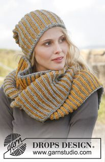 """Knitted DROPS hat and neck warmer with English rib in two colors in """"Nepal"""". ~ DROPS Design"""
