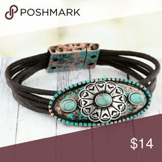 """Western 'Concho' Leather Magnetic Bracelet Western concho?bracelet?is the?perfect addition to your jewelry collection!  Distressed Turquoise and Coppertone with Worn Silvertone Concho 7.5"""" Long Brown Multi-Cord Leather Bracelet 2"""" x 1"""" Plate with Concho and Turquoise Beads Magnetic Closure Lead Compliant Jewelry Bracelets"""