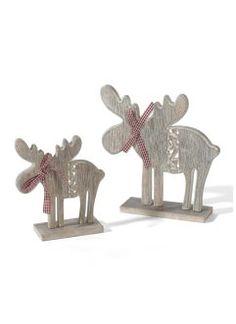 """Weihnachtsdeko """"Elche"""" aus Holz, 2-tlg. Set , bpc living, natur"""