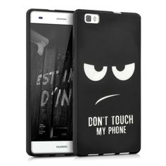Amazon.com: kwmobile TPU SILICONE CASE for Huawei P8 Lite Design Don't touch my phone white black - Stylish designer case made of premium soft TPU: Cell Phones & Accessories