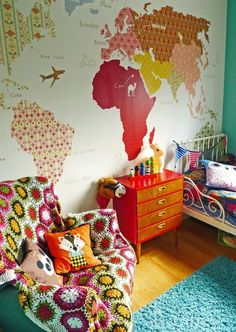 Bonito vinilo decorar con mapa del mundo pinterest cartoon 27 ways to create the perfect travel inspired nursery world map muralworld map wallpaperworld gumiabroncs Gallery