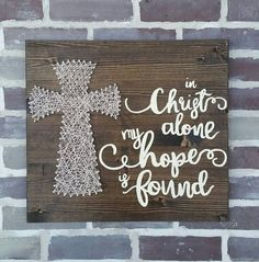 #39 Etsy Large String Art Cross sign In Christ Alone my Hope is Found Handmade by NailedItDesign.etsy.com
