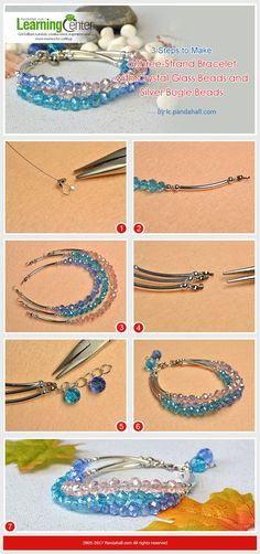 3 Steps to Make a Three-Strand Bracelet with Crystal Glass Beads and Silver Tube Beads