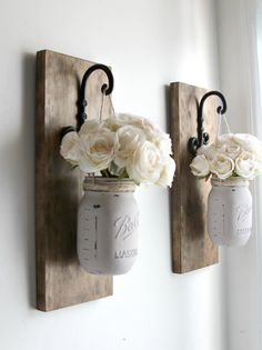 Set of 2 Mason Jar Sconces Mason Jar Wall Decor Country | DIY ...