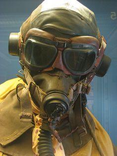 WWII pilots suit, full face masks were necessary in aircraft that were often unheated. Gas Mask Art, Gas Masks, Pilot Uniform, Jamie Chung, Fighter Pilot, Ww2 Aircraft, Military Art, Dieselpunk, Tactical Gear