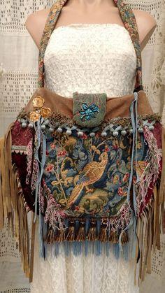 ec9772cd750e Handmade Vintage Tapestry Fringe Carpet Bag Velvet Suede Gypsy Boho Purse  tmyers