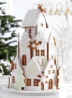 Gingerbread house by Eva Blixman on Gingerbread House Designs, Christmas Gingerbread House, Christmas Sweets, Christmas Cooking, Noel Christmas, All Things Christmas, Christmas Decorations, Gingerbread Houses, Christmas Cakes