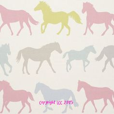 A pretty Clarke and Clarke horse themed fabric available in four colours. This modern style clarke and clarke fabric is perfect for children's curtains,