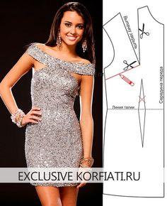 Платье с пайетками никогда не выйдет из моды. Оригинальный крой, широкая бретель и ультрамодная длина создали настоящий хит! Выкройка платья с пайетками