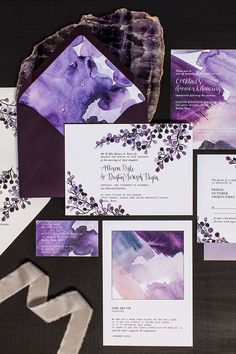 The Art of Opposites Watercolor Wedding Invitations by Lovely Paper Things / Oh So Beautiful Paper Más Wedding Invitation Kits, Wedding Invitation Inspiration, Laser Cut Wedding Invitations, Flower Invitation, Watercolor Wedding Invitations, Wedding Stationary, Wedding Inspiration, Lavender Wedding Invitations, Purple Invitations
