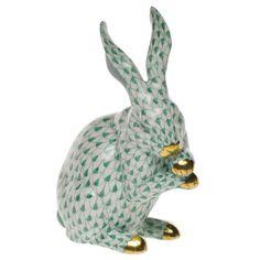 Herend Porcelain Fishnet Figurine of a Medium Rabbit