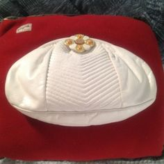 White Sharif handbag Made in USA white with gold metal shoulder strap Bags
