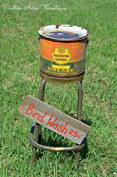 Junk style bird bath by Endless Acres Farmtiques